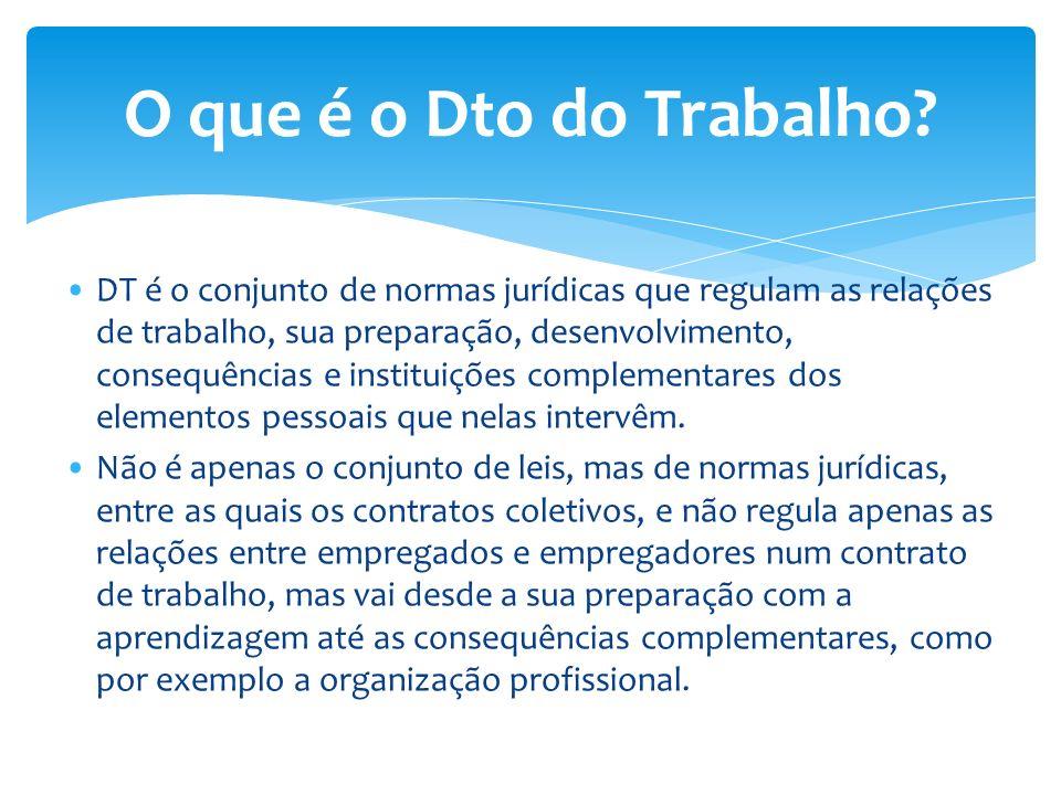 DT é o conjunto de normas jurídicas que regulam as relações de trabalho, sua preparação, desenvolvimento, consequências e instituições complementares