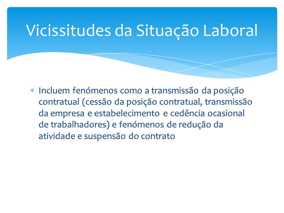 Incluem fenómenos como a transmissão da posição contratual (cessão da posição contratual, transmissão da empresa e estabelecimento e cedência ocasiona
