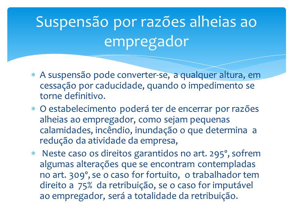 A suspensão pode converter-se, a qualquer altura, em cessação por caducidade, quando o impedimento se torne definitivo. O estabelecimento poderá ter d