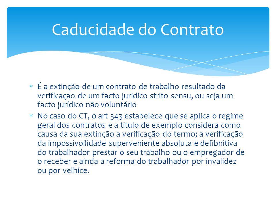 É a extinção de um contrato de trabalho resultado da verificaçao de um facto juridico strito sensu, ou seja um facto jurídico não voluntário No caso d