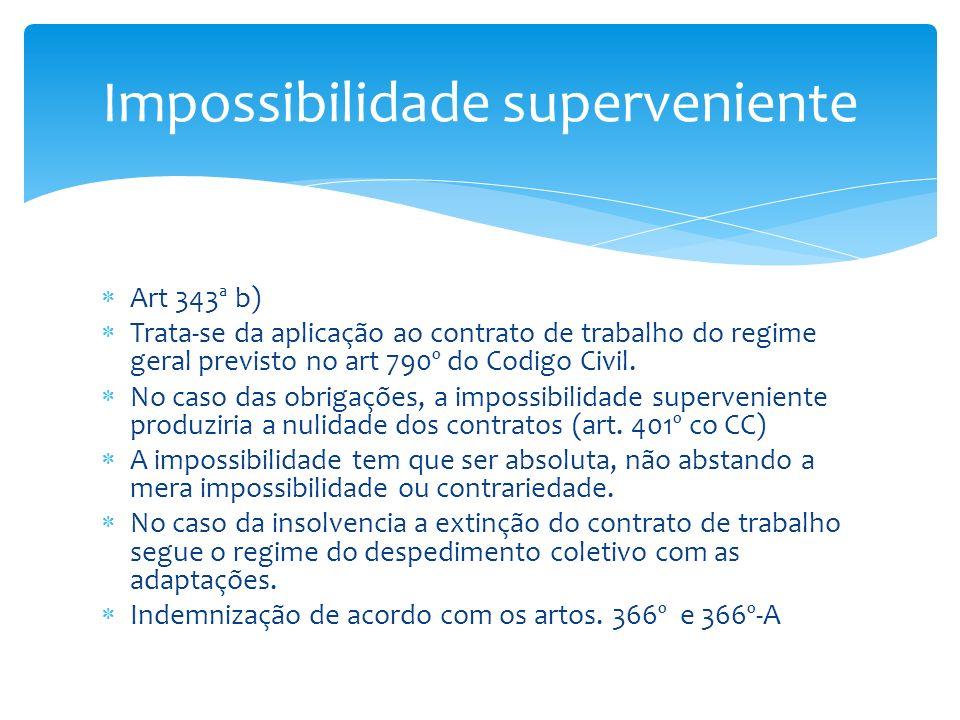 Art 343ª b) Trata-se da aplicação ao contrato de trabalho do regime geral previsto no art 790º do Codigo Civil. No caso das obrigações, a impossibilid