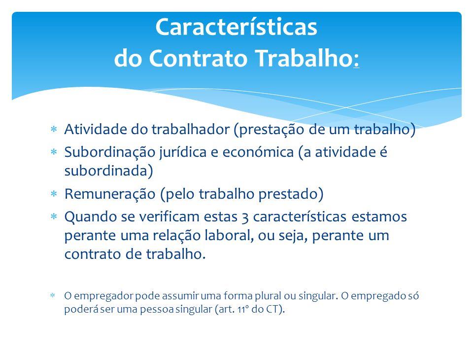 Atividade do trabalhador (prestação de um trabalho) Subordinação jurídica e económica (a atividade é subordinada) Remuneração (pelo trabalho prestado)