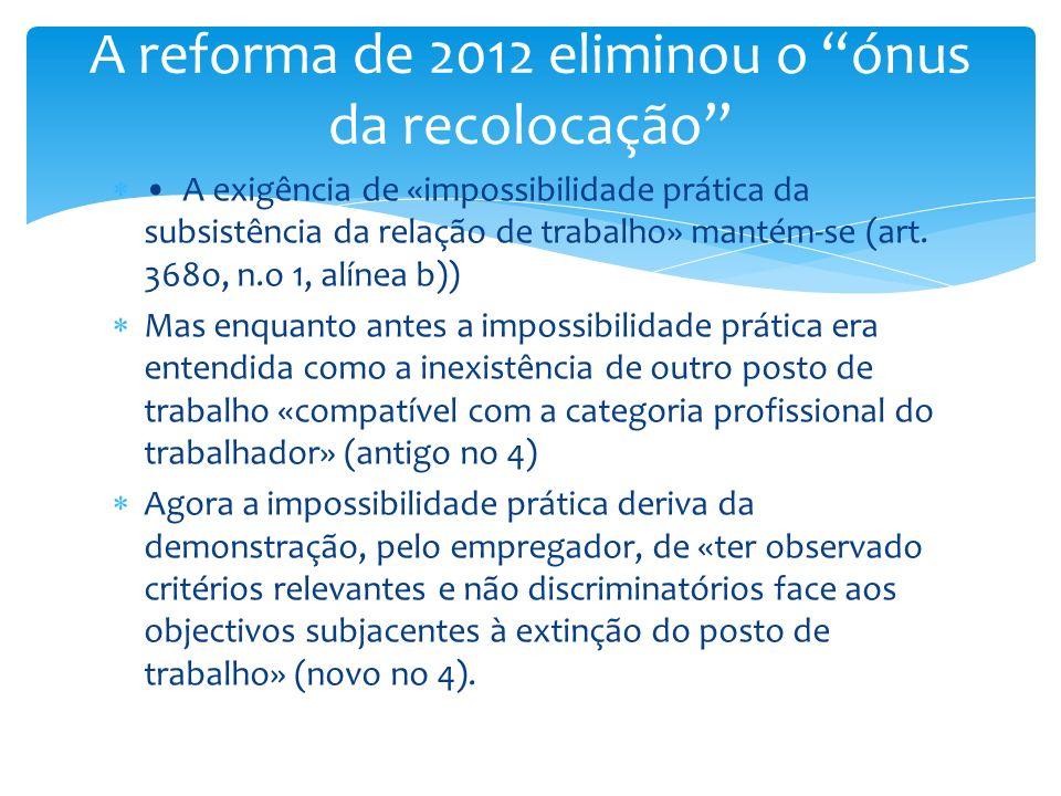 A exigência de «impossibilidade prática da subsistência da relação de trabalho» mantém-se (art. 368o, n.o 1, alínea b)) Mas enquanto antes a impossibi