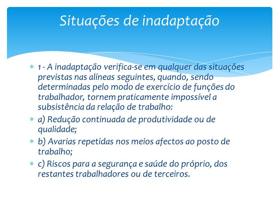 1 - A inadaptação verifica-se em qualquer das situações previstas nas alíneas seguintes, quando, sendo determinadas pelo modo de exercício de funções