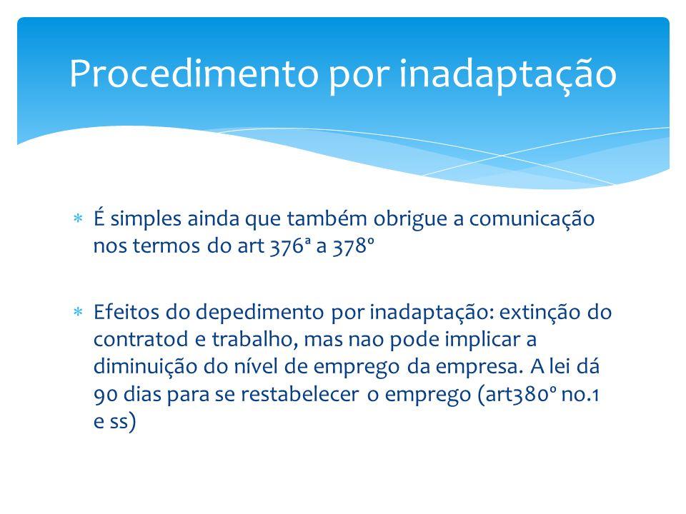 É simples ainda que também obrigue a comunicação nos termos do art 376ª a 378º Efeitos do depedimento por inadaptação: extinção do contratod e trabalh