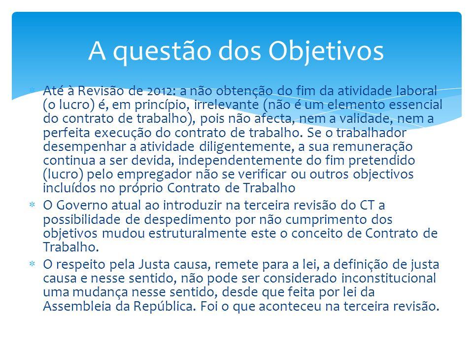 Até à Revisão de 2012: a não obtenção do fim da atividade laboral (o lucro) é, em princípio, irrelevante (não é um elemento essencial do contrato de t