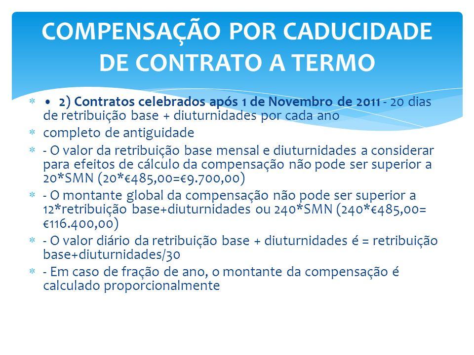 2) Contratos celebrados após 1 de Novembro de 2011 - 20 dias de retribuição base + diuturnidades por cada ano completo de antiguidade - O valor da ret