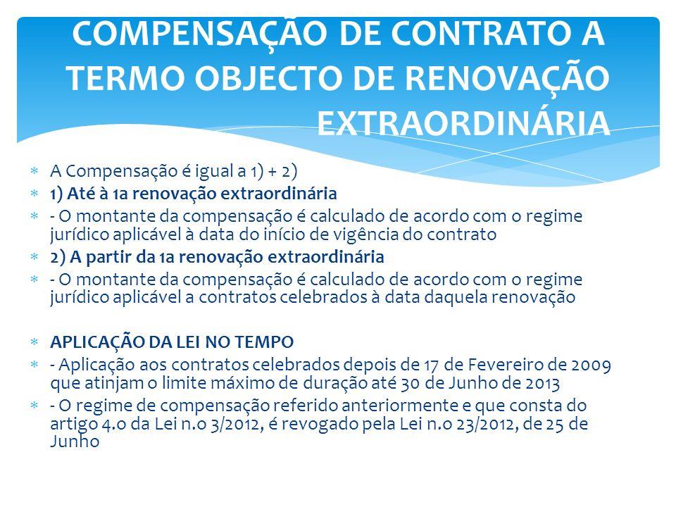 A Compensação é igual a 1) + 2) 1) Até à 1a renovação extraordinária - O montante da compensação é calculado de acordo com o regime jurídico aplicável