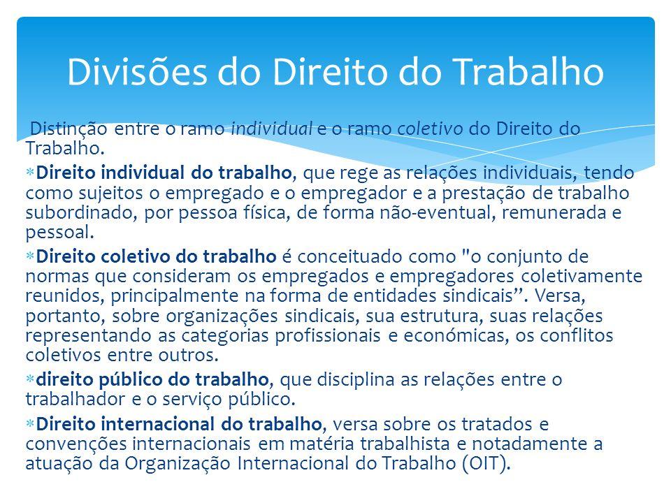 Distinção entre o ramo individual e o ramo coletivo do Direito do Trabalho. Direito individual do trabalho, que rege as relações individuais, tendo co