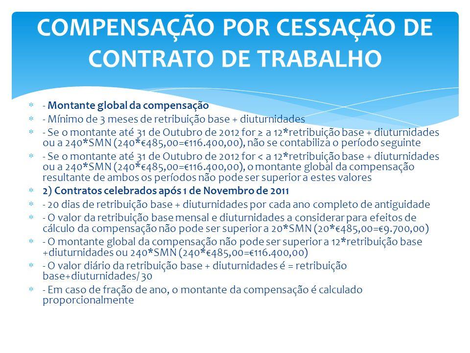 - Montante global da compensação - Mínimo de 3 meses de retribuição base + diuturnidades - Se o montante até 31 de Outubro de 2012 for a 12*retribuiçã