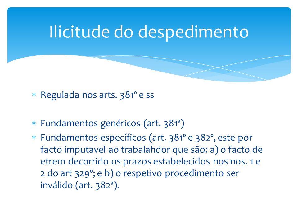 Regulada nos arts. 381º e ss Fundamentos genéricos (art. 381ª) Fundamentos específicos (art. 381º e 382º, este por facto imputavel ao trabalahdor que