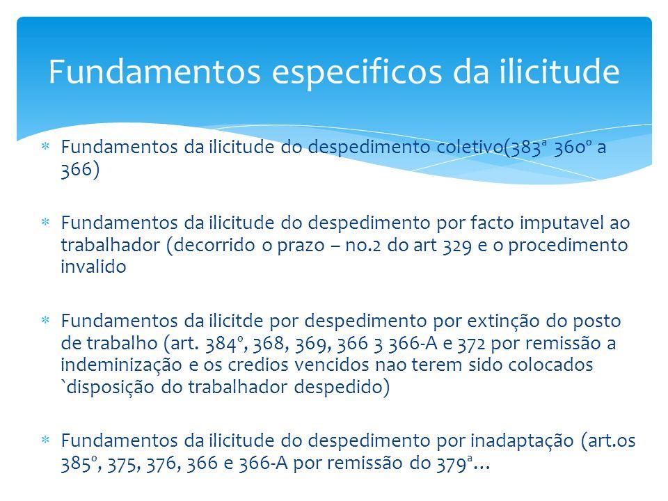 Fundamentos da ilicitude do despedimento coletivo(383ª 36oº a 366) Fundamentos da ilicitude do despedimento por facto imputavel ao trabalhador (decorr