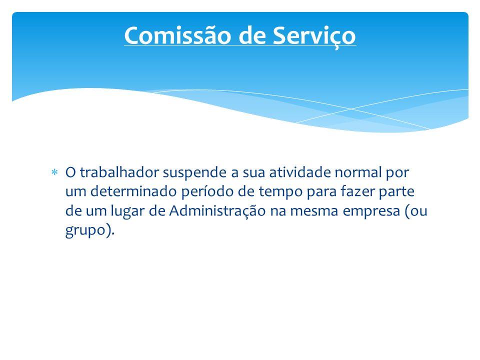 O trabalhador suspende a sua atividade normal por um determinado período de tempo para fazer parte de um lugar de Administração na mesma empresa (ou g