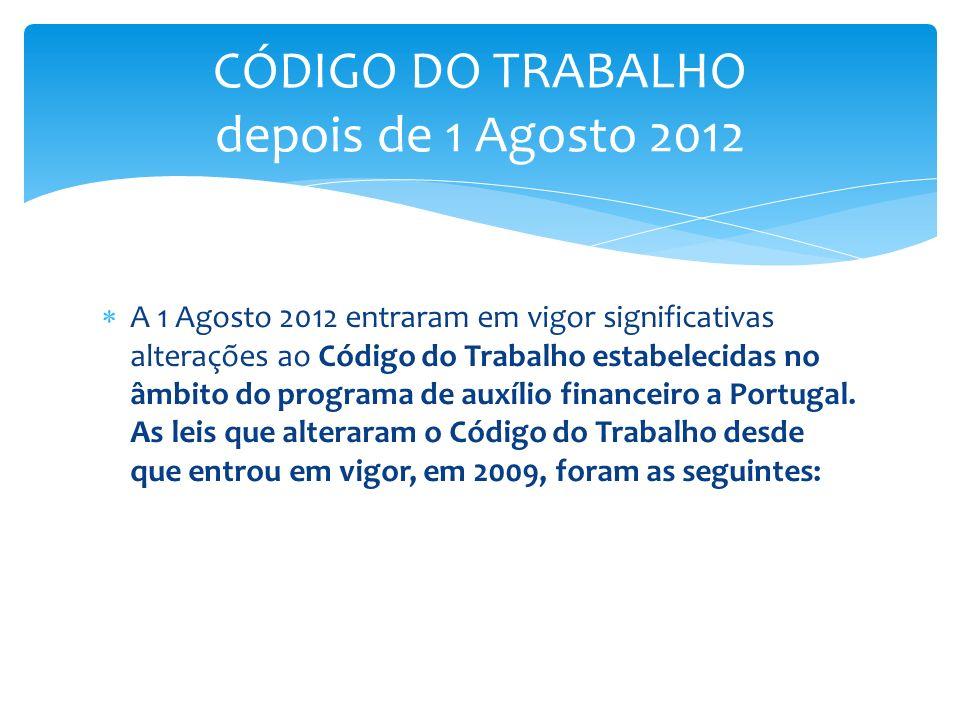 A 1 Agosto 2012 entraram em vigor significativas alterações ao Código do Trabalho estabelecidas no âmbito do programa de auxílio financeiro a Portugal