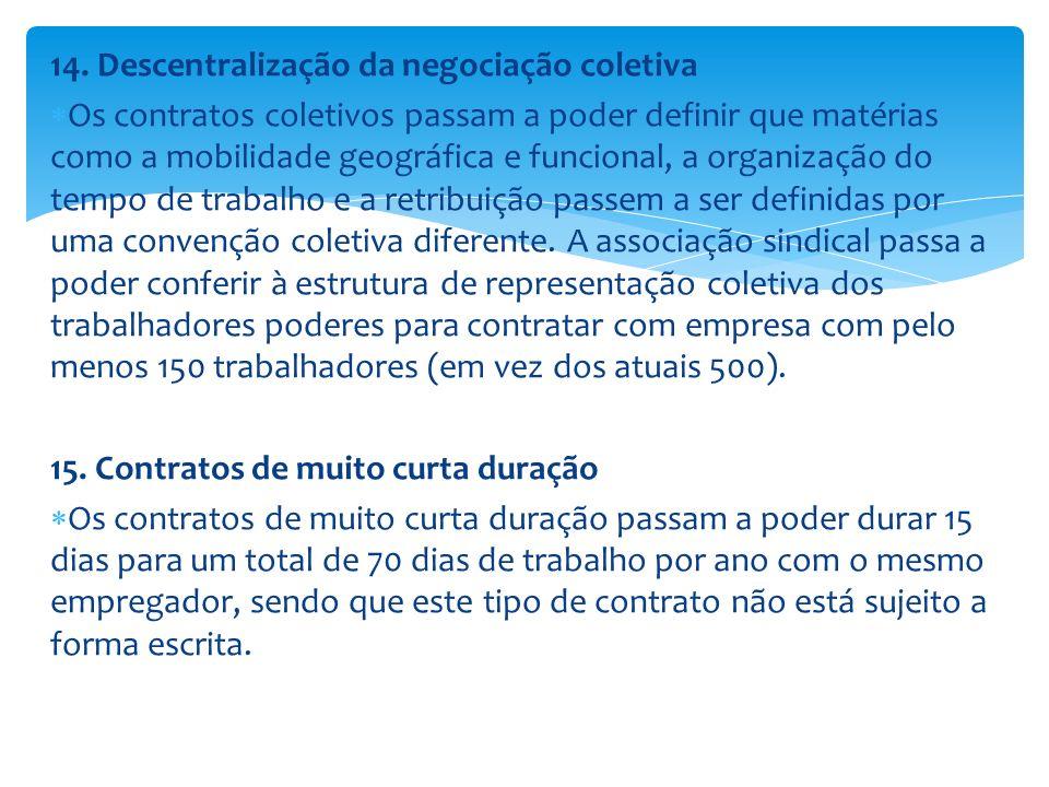 14. Descentralização da negociação coletiva Os contratos coletivos passam a poder definir que matérias como a mobilidade geográfica e funcional, a org