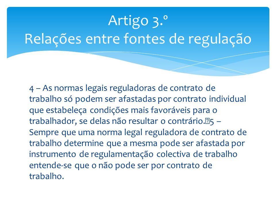 4 – As normas legais reguladoras de contrato de trabalho só podem ser afastadas por contrato individual que estabeleça condições mais favoráveis para