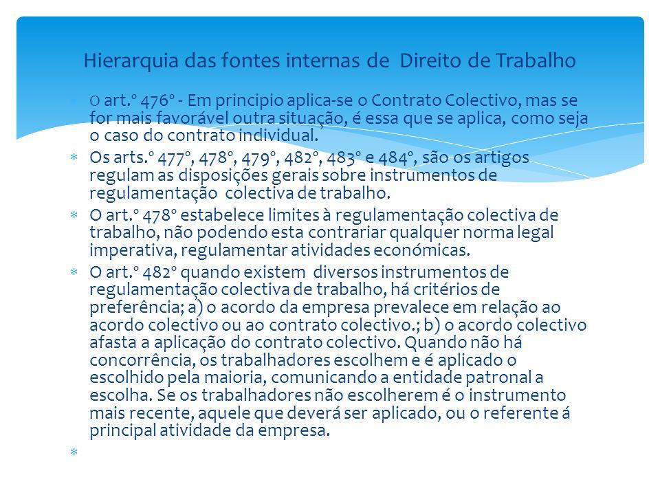 O art.º 476º - Em principio aplica-se o Contrato Colectivo, mas se for mais favorável outra situação, é essa que se aplica, como seja o caso do contra