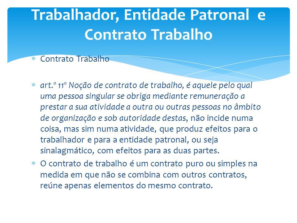 Contrato Trabalho art.º 11º Noção de contrato de trabalho, é aquele pelo qual uma pessoa singular se obriga mediante remuneração a prestar a sua ativi