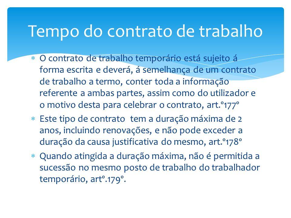 O contrato de trabalho temporário está sujeito á forma escrita e deverá, á semelhança de um contrato de trabalho a termo, conter toda a informação ref