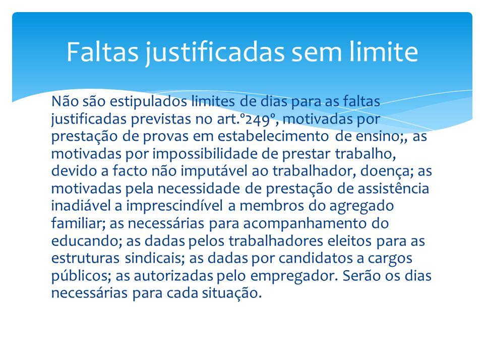 Não são estipulados limites de dias para as faltas justificadas previstas no art.º249º, motivadas por prestação de provas em estabelecimento de ensino