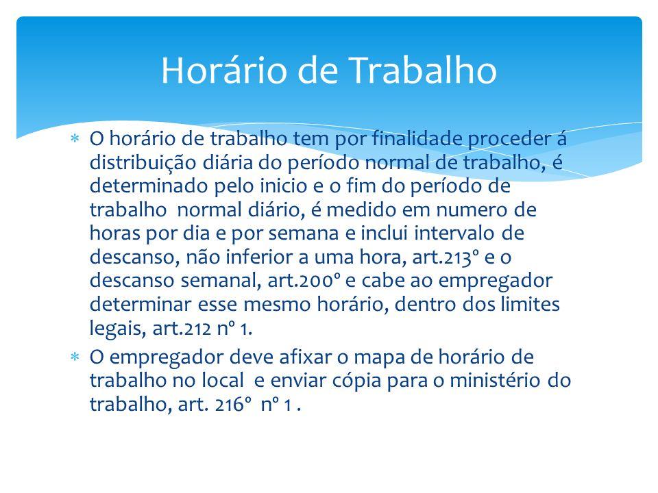 O horário de trabalho tem por finalidade proceder á distribuição diária do período normal de trabalho, é determinado pelo inicio e o fim do período de
