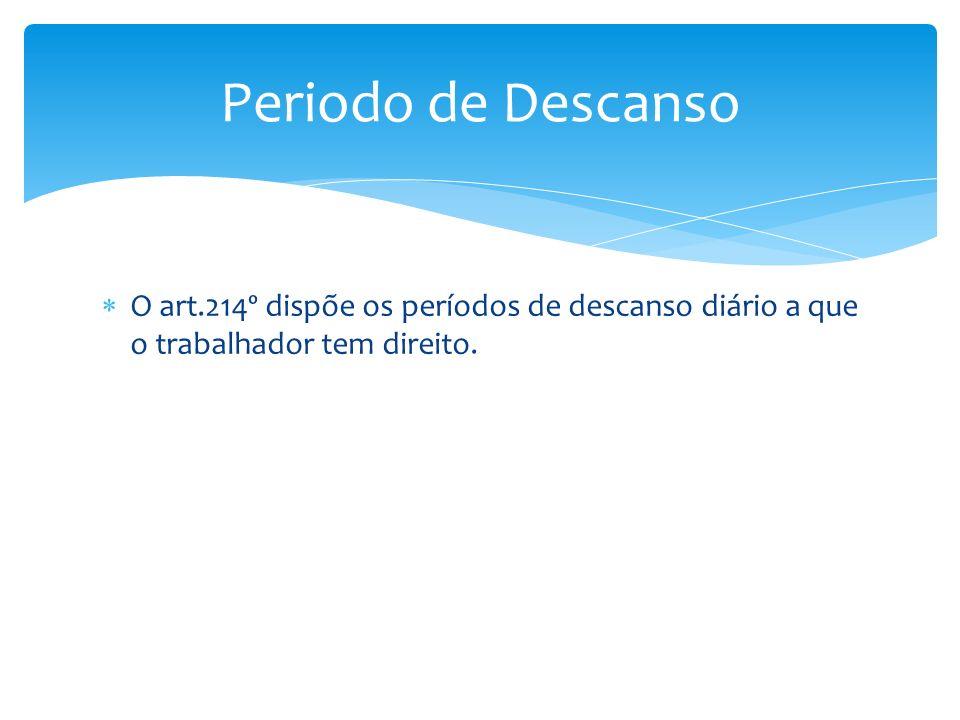 O art.214º dispõe os períodos de descanso diário a que o trabalhador tem direito. Periodo de Descanso