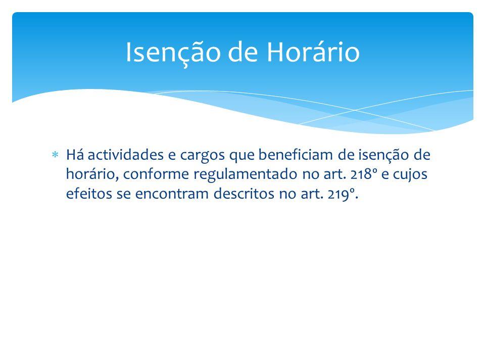 Há actividades e cargos que beneficiam de isenção de horário, conforme regulamentado no art. 218º e cujos efeitos se encontram descritos no art. 219º.