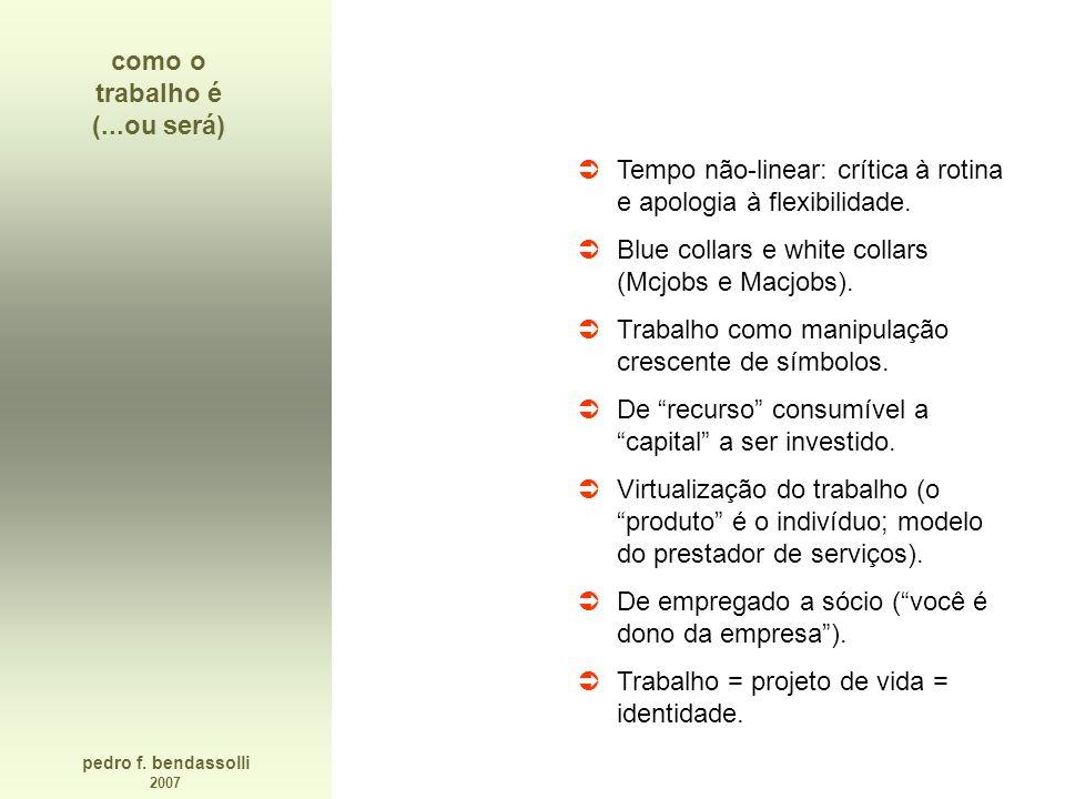 pedro f. bendassolli 2007 como o trabalho é (...ou será) Tempo não-linear: crítica à rotina e apologia à flexibilidade. Blue collars e white collars (