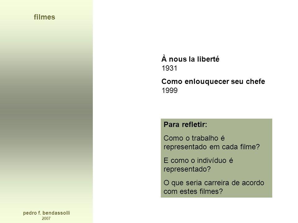 pedro f. bendassolli 2007 filmes À nous la liberté 1931 Como enlouquecer seu chefe 1999 Para refletir: Como o trabalho é representado em cada filme? E