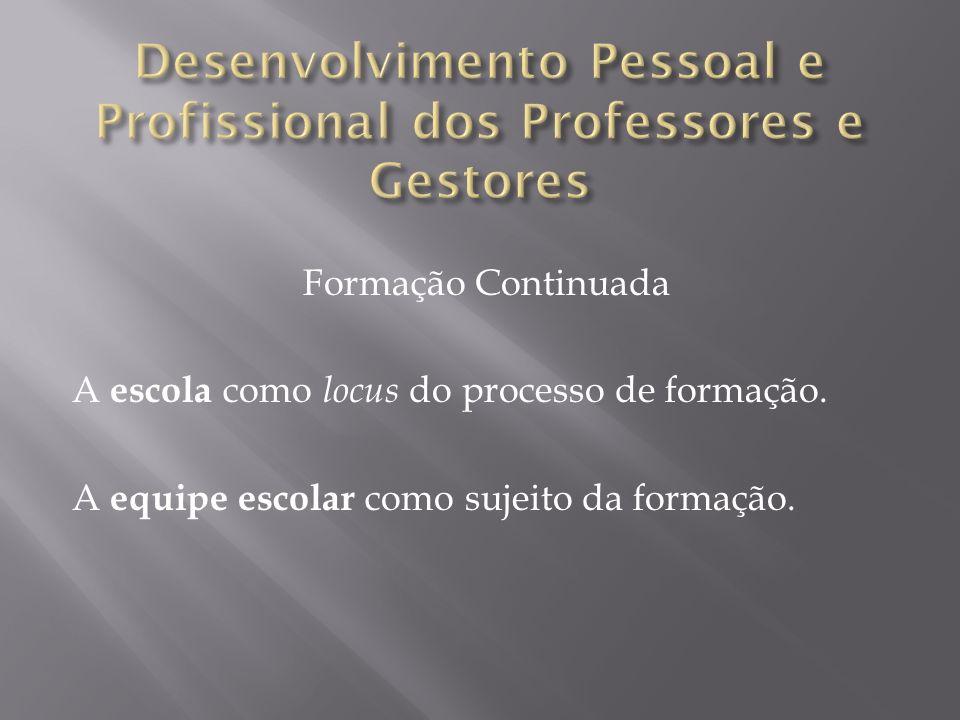 Formação Continuada A escola como locus do processo de formação.