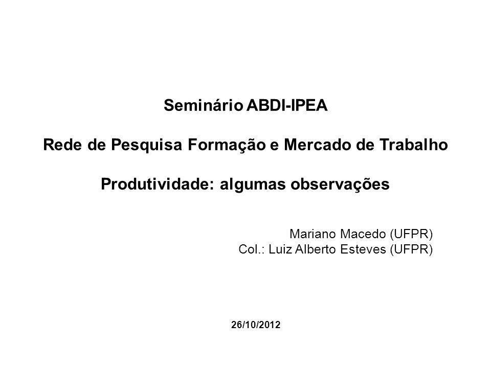 Importância da Rede de Pesquisa Rede de Pesquisa Formação e Mercado de Trabalho (ABDI/IPEA): Estabelecer mecanismos de coordenação entre iniciativas de instituições de pesquisa com vistas a avanços e consensos básicos na análise e na definição de Indicadores de Produtividade que possam servir de referências para a avaliação, monitoramento e a gestão de políticas públicas, a exemplo do Plano Brasil Maior.