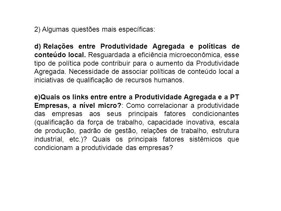 2) Algumas questões mais específicas: d) Relações entre Produtividade Agregada e políticas de conteúdo local.