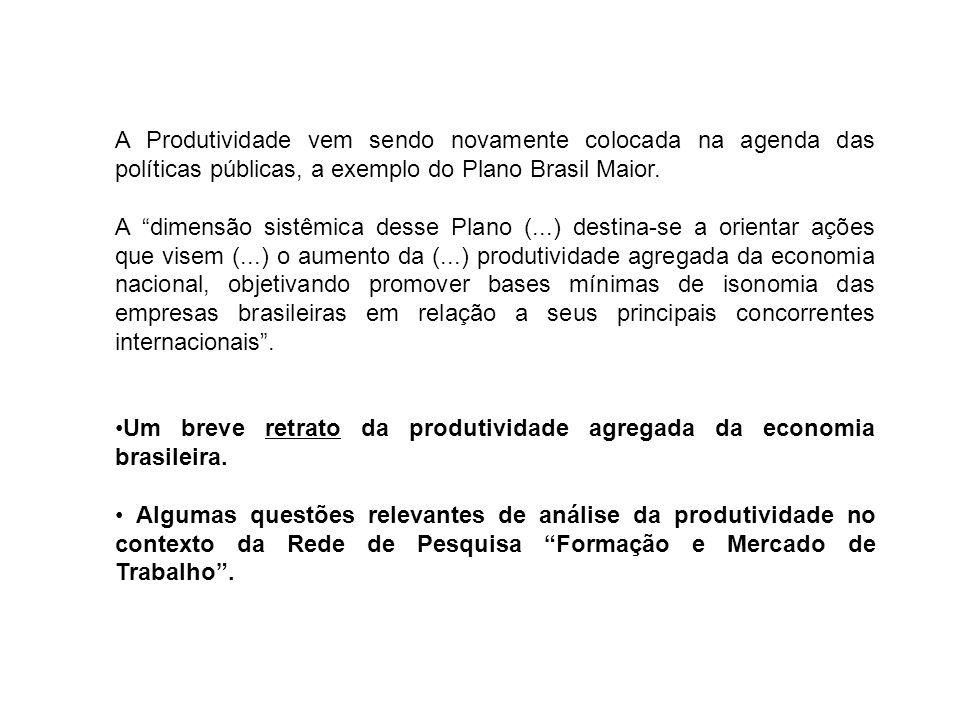 1)O elevado crescimento da economia brasileira na última década foi puxado principalmente pelo aumento da ocupação ou pelo aumento da produtividade.