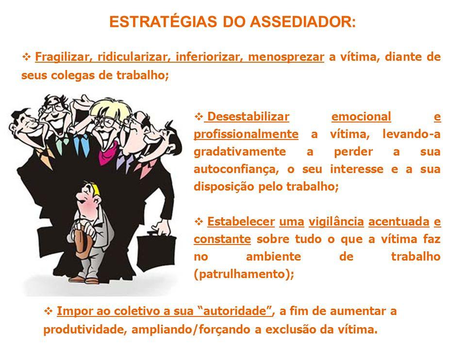 ESTRATÉGIAS DO ASSEDIADOR: Fragilizar, ridicularizar, inferiorizar, menosprezar a vítima, diante de seus colegas de trabalho; Impor ao coletivo a sua