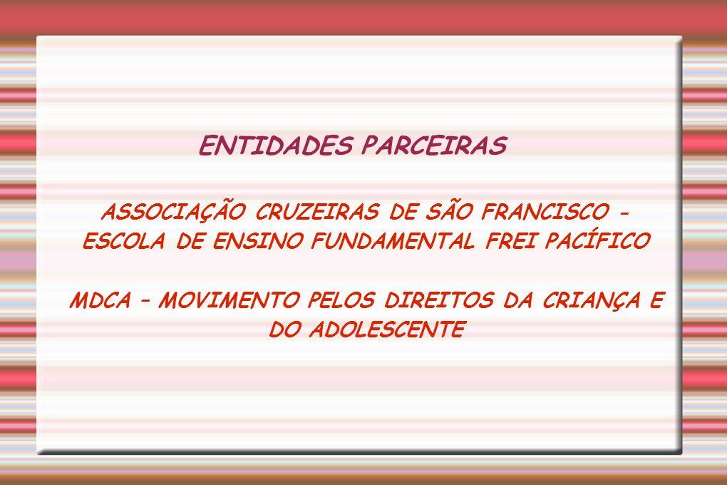 ENTIDADES PARCEIRAS ASSOCIAÇÃO CRUZEIRAS DE SÃO FRANCISCO - ESCOLA DE ENSINO FUNDAMENTAL FREI PACÍFICO MDCA – MOVIMENTO PELOS DIREITOS DA CRIANÇA E DO