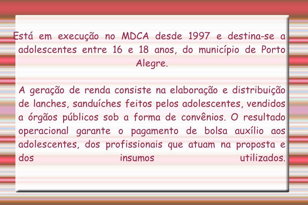 Está em execução no MDCA desde 1997 e destina-se a adolescentes entre 16 e 18 anos, do município de Porto Alegre. A geração de renda consiste na elabo