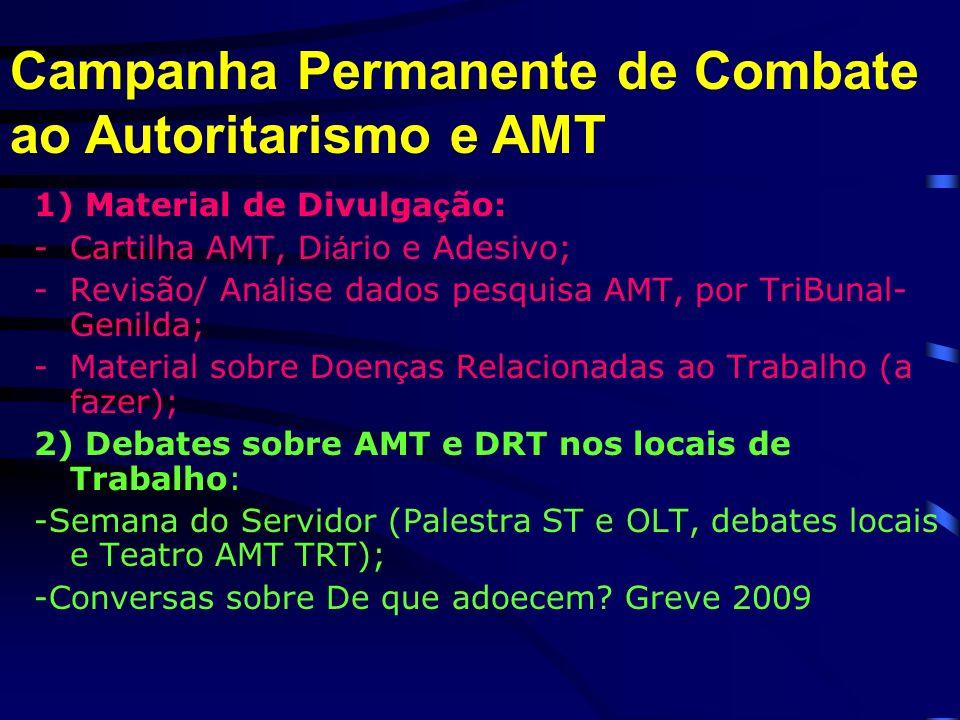 1) Material de Divulga ç ão: -Cartilha AMT, Di á rio e Adesivo; -Revisão/ An á lise dados pesquisa AMT, por TriBunal- Genilda; -Material sobre Doen ç as Relacionadas ao Trabalho (a fazer); 2) Debates sobre AMT e DRT nos locais de Trabalho: -Semana do Servidor (Palestra ST e OLT, debates locais e Teatro AMT TRT); -Conversas sobre De que adoecem.