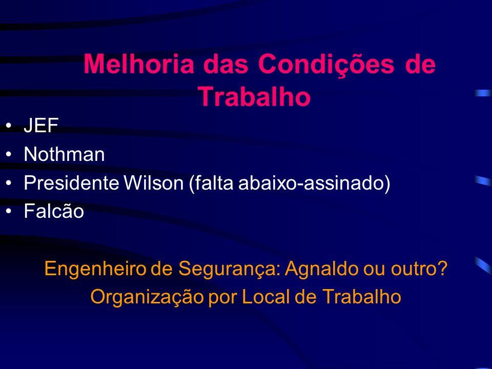 Melhoria das Condições de Trabalho JEF Nothman Presidente Wilson (falta abaixo-assinado) Falcão Engenheiro de Segurança: Agnaldo ou outro.