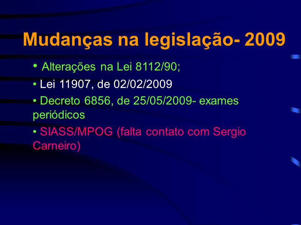 Mudanças na legislação- 2009 Alterações na Lei 8112/90; Lei 11907, de 02/02/2009 Decreto 6856, de 25/05/2009- exames periódicos SIASS/MPOG (falta contato com Sergio Carneiro)
