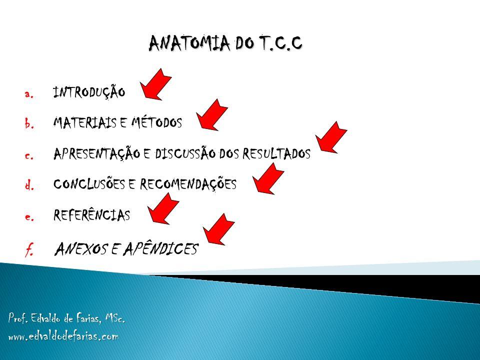 ANATOMIA DO T.C.C a. INTRODUÇÃO b. MATERIAIS E MÉTODOS c. APRESENTAÇÃO E DISCUSSÃO DOS RESULTADOS d. CONCLUSÕES E RECOMENDAÇÕES e. REFERÊNCIAS f. ANEX
