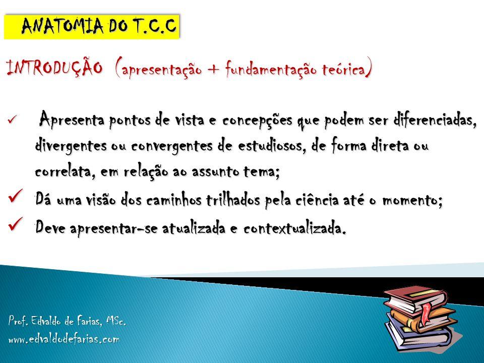 INTRODUÇÃO (apresentação + fundamentação teórica) Apresenta pontos de vista e concepções que podem ser diferenciadas, divergentes ou convergentes de e
