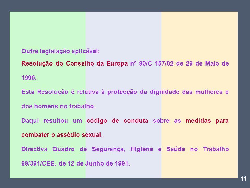 Outra legislação aplicável: Resolução do Conselho da Europa nº 90/C 157/02 de 29 de Maio de 1990. Esta Resolução é relativa à protecção da dignidade d