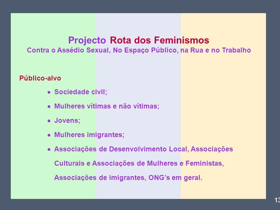 Projecto Rota dos Feminismos Contra o Assédio Sexual, No Espaço Público, na Rua e no Trabalho Público-alvo Sociedade civil; Mulheres vítimas e não vít