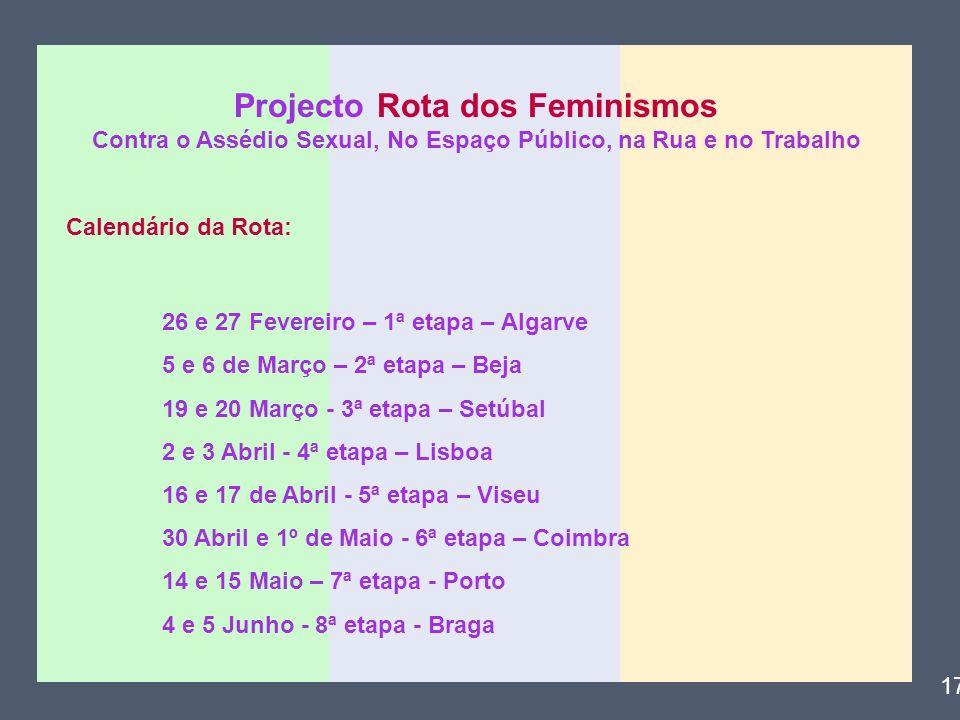 Projecto Rota dos Feminismos Contra o Assédio Sexual, No Espaço Público, na Rua e no Trabalho Calendário da Rota: 26 e 27 Fevereiro – 1ª etapa – Algar