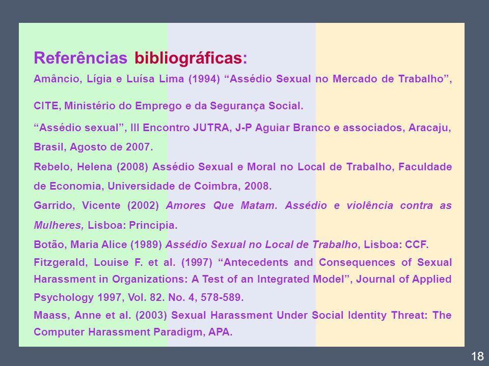 Referências bibliográficas: Amâncio, Lígia e Luísa Lima (1994) Assédio Sexual no Mercado de Trabalho, CITE, Ministério do Emprego e da Segurança Socia