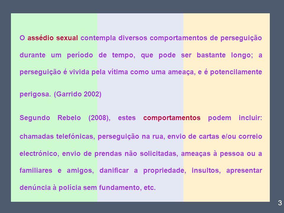 Também para Alice Botão (1989) assédio sexual consiste em qualquer comportamento ou revelação, por palavras ou acções de carácter sexual, não pretendido pela pessoa a quem se destina, sendo por esta vivido como ofensivo.