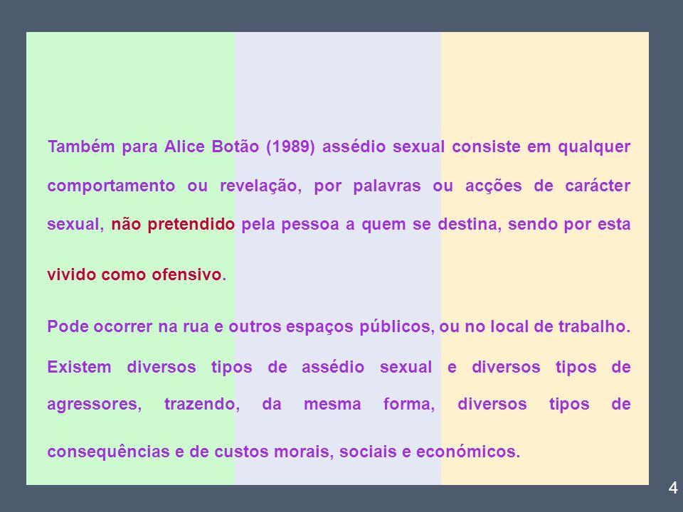 Também para Alice Botão (1989) assédio sexual consiste em qualquer comportamento ou revelação, por palavras ou acções de carácter sexual, não pretendi