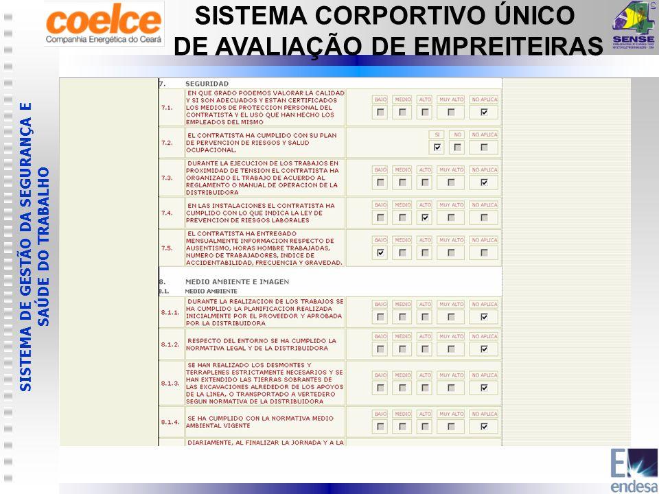 SISTEMA DE GESTÃO DA SEGURANÇA E SAÚDE DO TRABALHO SISTEMA CORPORTIVO ÚNICO DE AVALIAÇÃO DE EMPREITEIRAS