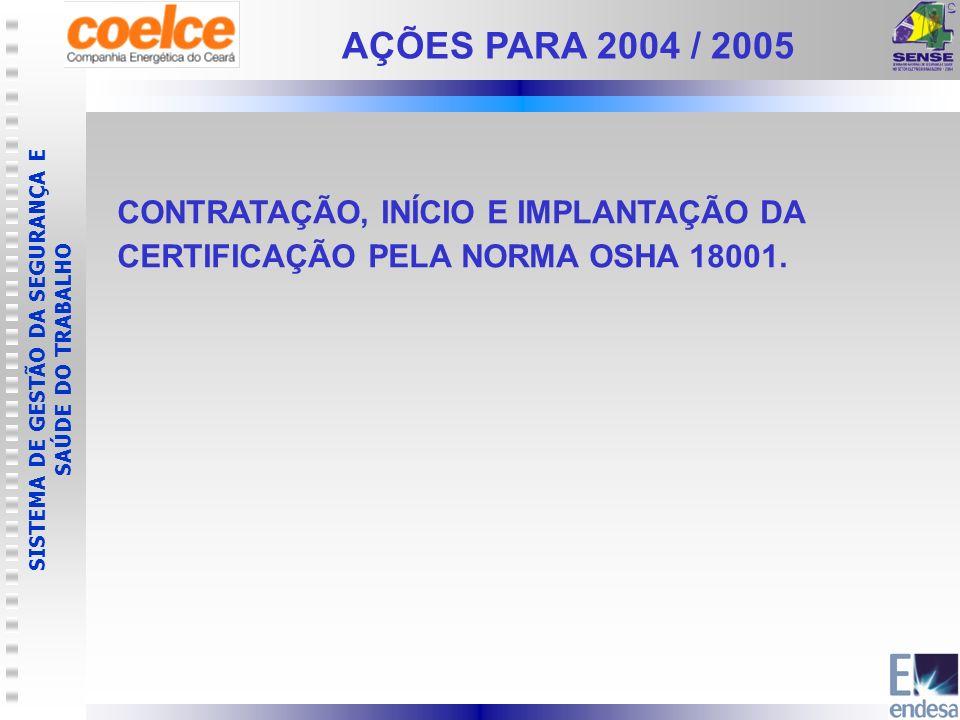 SISTEMA DE GESTÃO DA SEGURANÇA E SAÚDE DO TRABALHO CONTRATAÇÃO, INÍCIO E IMPLANTAÇÃO DA CERTIFICAÇÃO PELA NORMA OSHA 18001. AÇÕES PARA 2004 / 2005