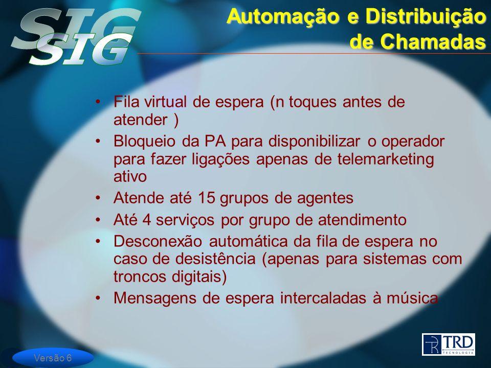 Versão 6 Fila virtual de espera (n toques antes de atender ) Bloqueio da PA para disponibilizar o operador para fazer ligações apenas de telemarketing